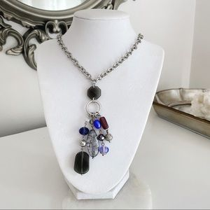 22 inch glass bead statement necklace